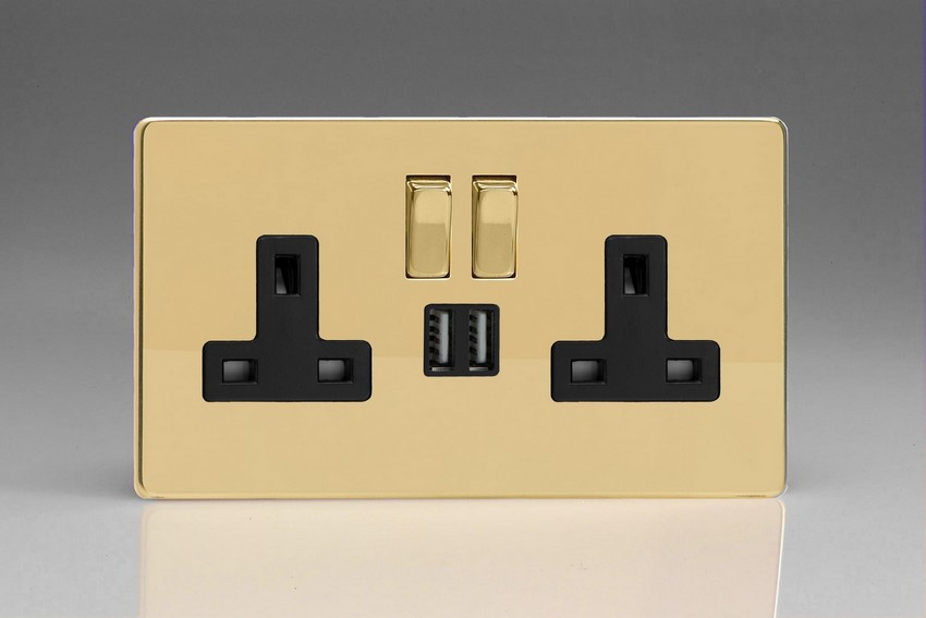 XDV5U2SBS Varilight 2 Gang 13A Single Pole Switched Socket + 2 x 5V DC 2100mA USB Charging Ports, Black Insert & Polished Brass Switches. Dimension Screwless Polished Brass Effect