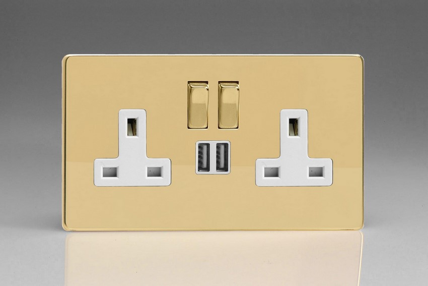 XDV5U2SWS Varilight 2 Gang 13A Single Pole Switched Socket + 2 x 5V DC 2100mA USB Charging Ports, White Insert & Polished Brass Switches. Dimension Screwless Polished Brass Effect