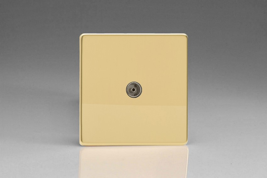 XDV8S Varilight 1 Gang (Single), Co-axial TV Socket, Dimension Screwless Polished Brass Effect