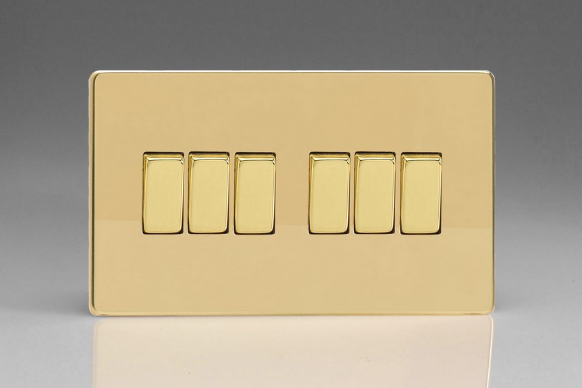 XDV96S Varilight 6 Gang 1or 2 Way 10 Amp Switch, Dimension Screwless Polished Brass Effect (Double Plate)