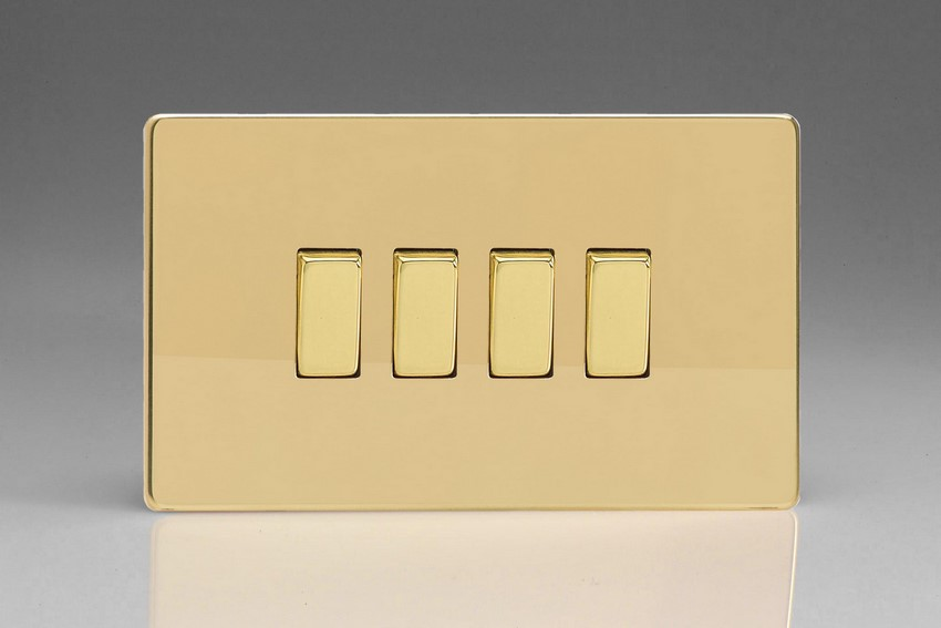 XDV9S Varilight 4 Gang (Quad), 1or 2 Way 10 Amp Switch, Dimension Screwless Polished Brass Effect (Double Plate)