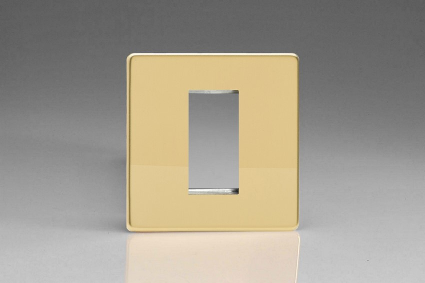 XDVG1S Varilight Single Size Data Grid Face Plate For 1 Data Module Width, Dimension Screwless Polished Brass Effect
