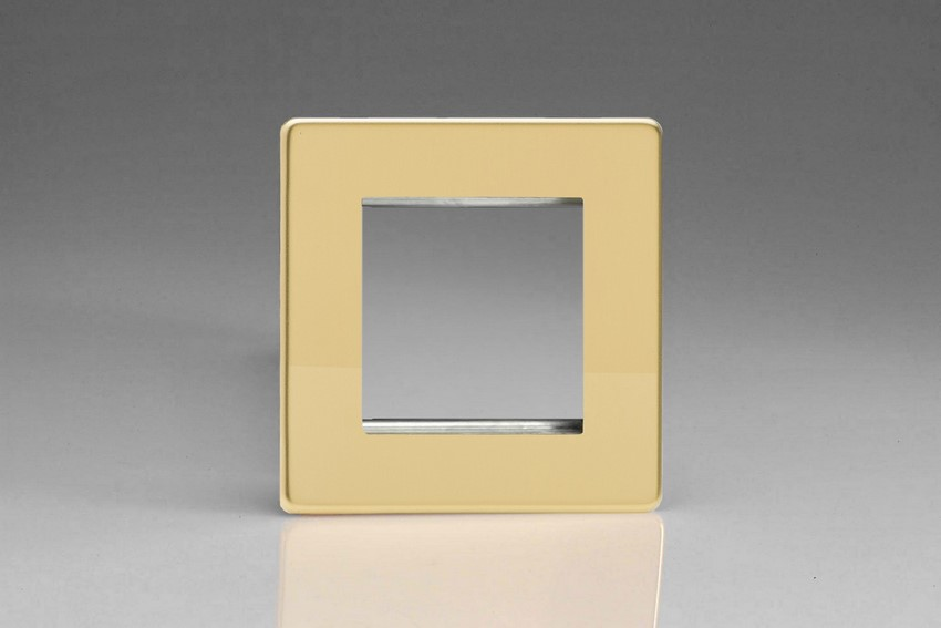XDVG2S Varilight Single Size Data Grid Face Plate For 2 Data Modules, Dimension Screwless Polished Brass Effect