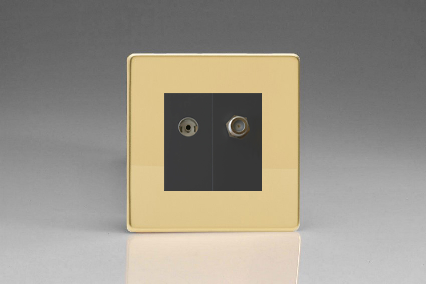 XDVG88SBS Varilight 2 Gang (Double), Co-axial TV and Satellite Socket, Dimension Screwless Polished Brass Effect