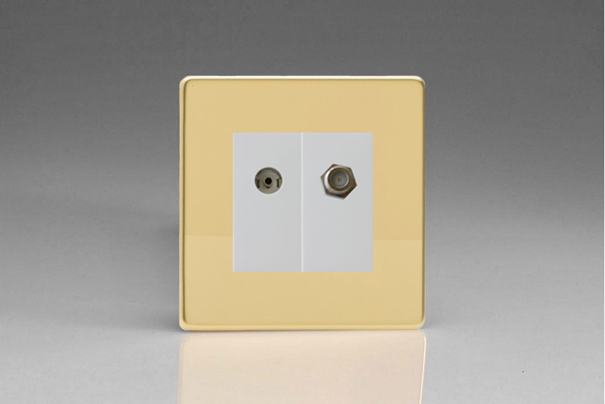 XDVG88SWS Varilight 2 Gang (Double), Co-axial TV and Satellite Socket, Dimension Screwless Polished Brass Effect