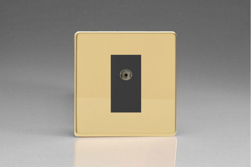XDVG8BS Varilight 1 Gang (Single), Co-axial TV Socket, Dimension Screwless Polished Brass Effect with Black insert