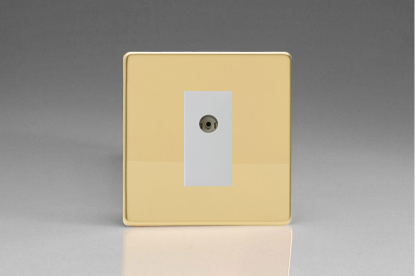 XDVG8ISOWS Varilight 2 Gang (Double), Isolated Co-axial TV Socket, Dimension Screwless Polished Brass Effect