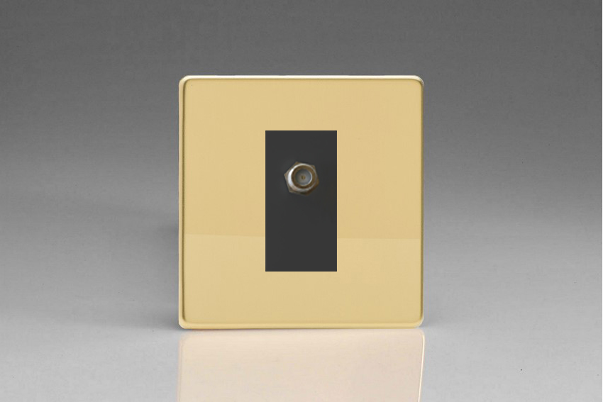 XDVG8SBS Varilight 1 Gang (Single), Satellite TV Socket, Dimension Screwless Polished Brass Effect with Black insert