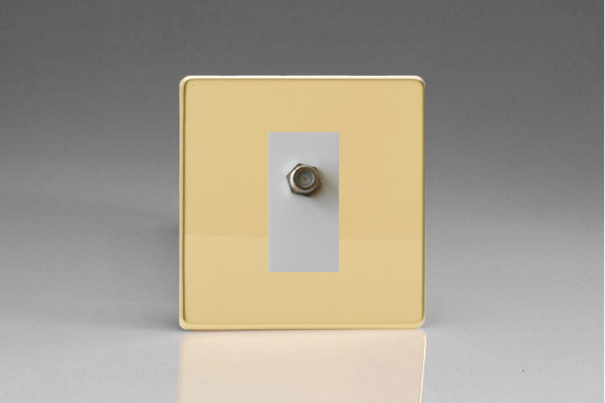 XDVG8SWS Varilight 1 Gang (Single), Satellite TV Socket, Dimension Screwless Polished Brass Effect with White insert
