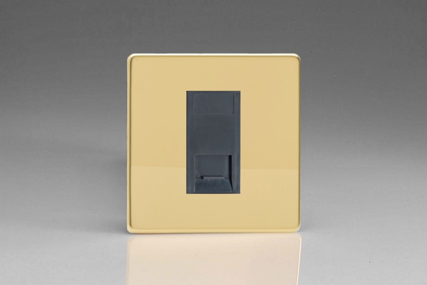 XDVGTSBS Varilight 1 Gang (Single), Telephone Slave Socket, Dimension Screwless Polished Brass Effect with Black insert