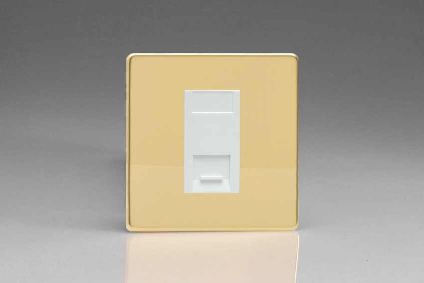 XDVGTSWS Varilight 1 Gang (Single), Telephone Slave Socket, Dimension Screwless Polished Brass Effect with White insert
