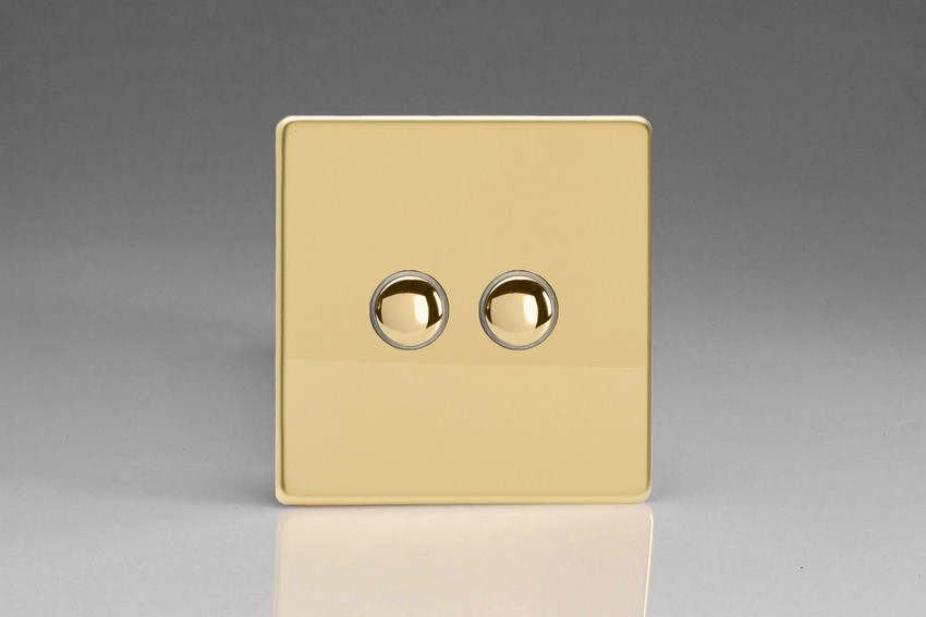 XDVP2S Varilight 2 Gang (Double) 1 or 2 way 6 Amp Push-on Push-off Switch (impulse), Dimension Screwless Polished Brass Effect