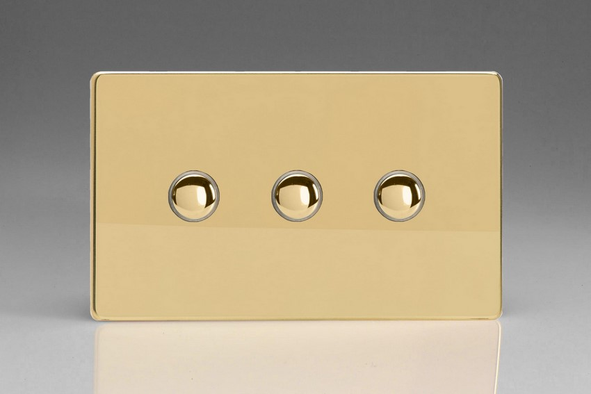 XDVP3S Varilight 3 Gang (Triple) 1 or 2 way 6 Amp Push-on Push-off Switch (impulse), Dimension Screwless Polished Brass Effect