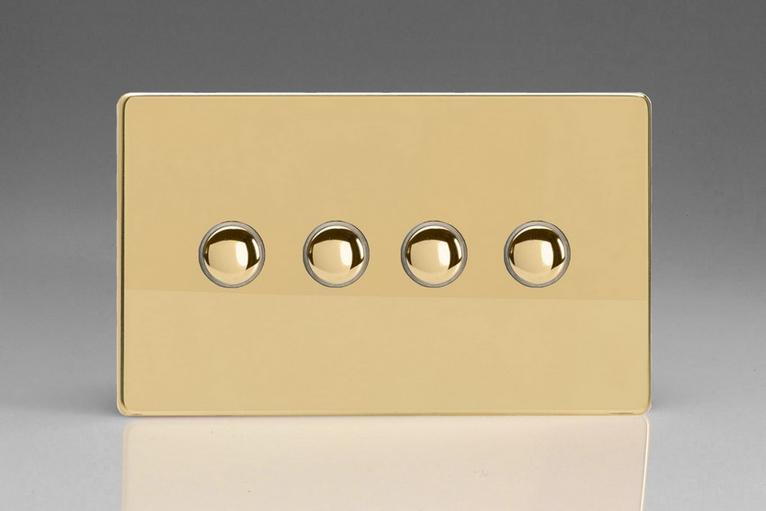 XDVP4S Varilight 4 Gang (Quad) 1 or 2 way 6 Amp Push-on Push-off Switch (impulse), Dimension Screwless Polished Brass Effect