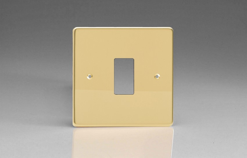 XDVPG1+ Varilight 1 Gang Polished Brass (Dimension Range) Faceplate including 1 Gang Power Grid Frame
