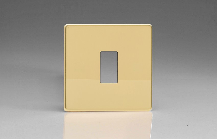 XDVPG1S+ Varilight 1 Gang Polished Brass Dimension Screwless Faceplate including 1 Gang Screwless Power Grid Frame