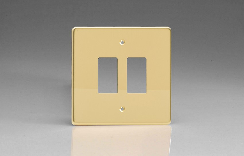 XDVPG2+ Varilight 2 Gang Polished Brass (Dimension Range) Faceplate including 2 Gang Power Grid Frame