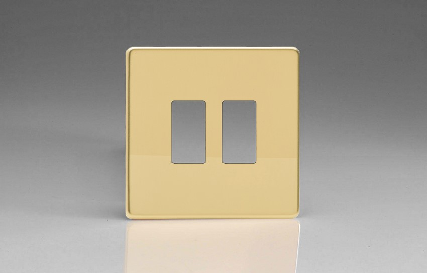 XDVPG2S+ Varilight 2 Gang Polished Brass Dimension Screwless Faceplate including 2 Gang Screwless Power Grid Frame