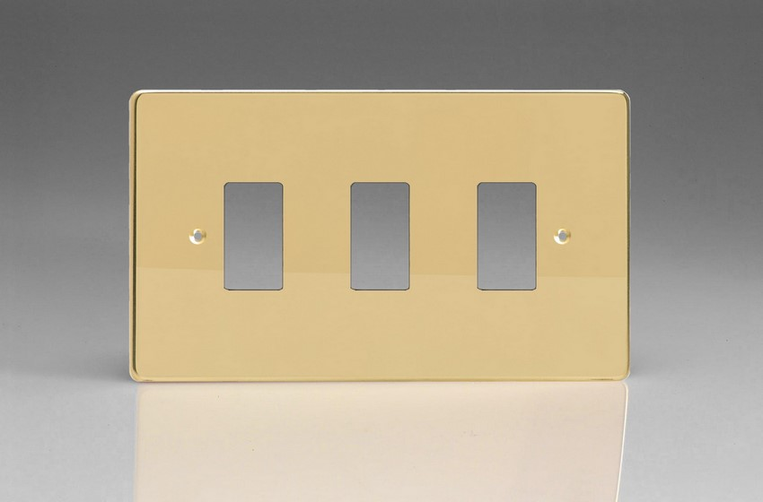 XDVPG3+ Varilight 3 Gang Polished Brass (Dimension Range) Faceplate including 3 Gang Power Grid Frame