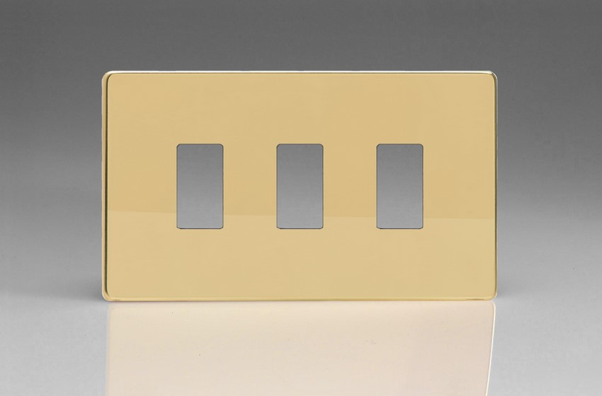 XDVPG3S+ Varilight 3 Gang Polished Brass Dimension Screwless Faceplate including 3 Gang Screwless Power Grid Frame