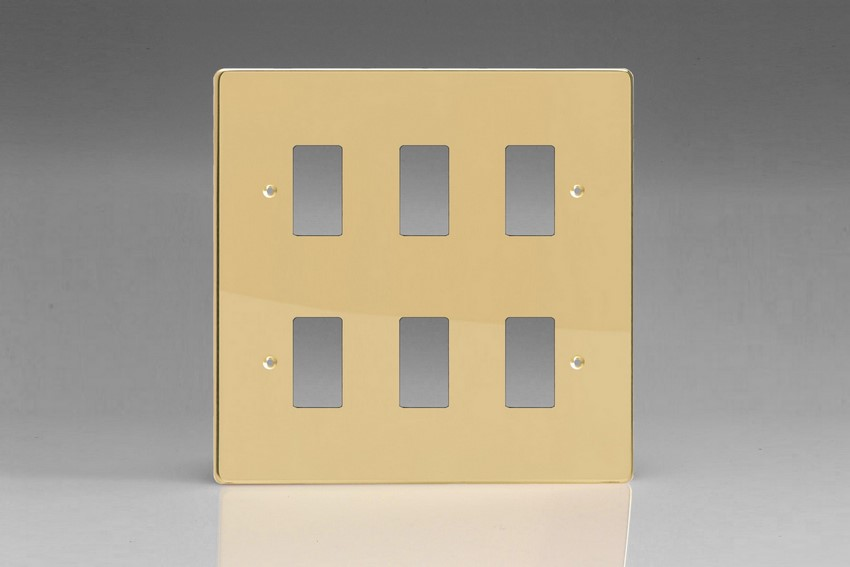 XDVPG6+ Varilight 6 Gang Polished Brass (Dimension Range) Faceplate including 6 Gang Power Grid Frame