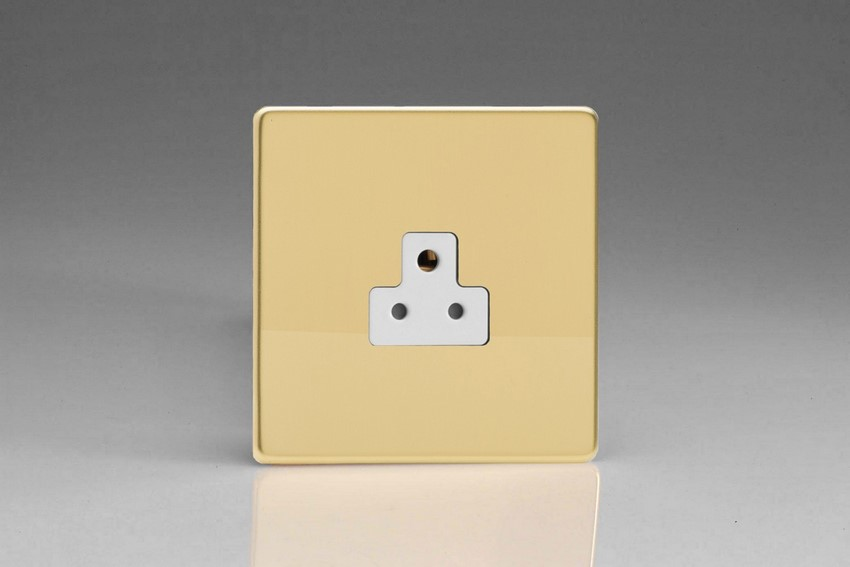 XDVRP2AWS Varilight 1 Gang (Single), 2 Amp Round Pin Socket, Dimension Screwless Polished Brass Effect