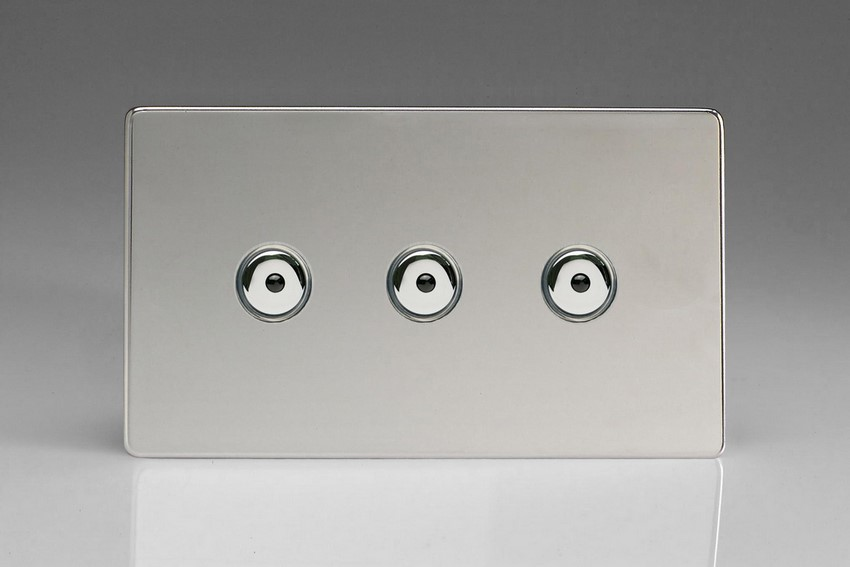 Varilight V-Pro IR Series 3 Gang 0-100 Watts Master Trailing Edge LED Dimmer Screwless Polished Chrome