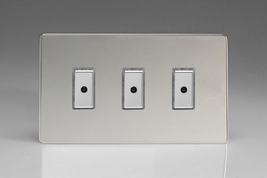 JDCE103S - Varilight V-Pro Series Eclique2, 3 gang Intelligent Programmable Master Dimmer, with Tactile Touch Button and Integrated Remote Control Sensor 0-100 Watts of LEDs (10 LEDs Max), Dimension Screwless Polished Chrome