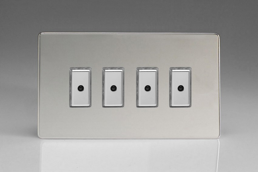 JDCE104S - Varilight V-Pro Series Eclique2, 4 gang Intelligent Programmable Master Dimmer, with Tactile Touch Button and Integrated Remote Control Sensor 0-100 Watts of LEDs (10 LEDs Max), Dimension Screwless Polished Chrome