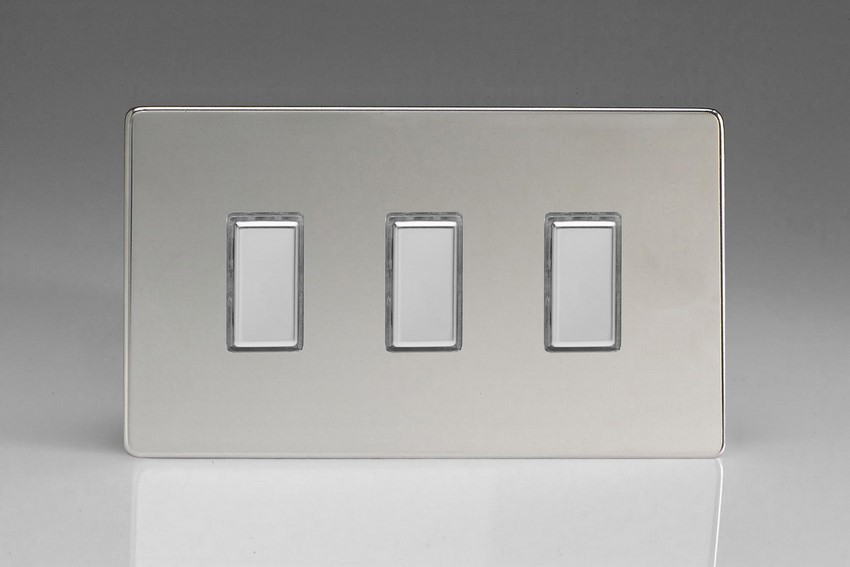 JDCES003S - Varilight V-Pro Series Eclique2, 3 Gang Tactile Touch Button Slave Unit for 2 way or Multi-way Circuits Only, Dimension Screwless Polished Chrome