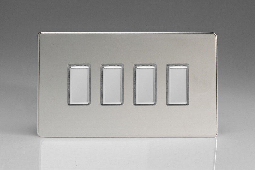 JDCES004S - Varilight V-Pro Series Eclique2, 4 Gang Tactile Touch Button Slave Unit for 2 way or Multi-way Circuits Only, Dimension Screwless Polished Chrome