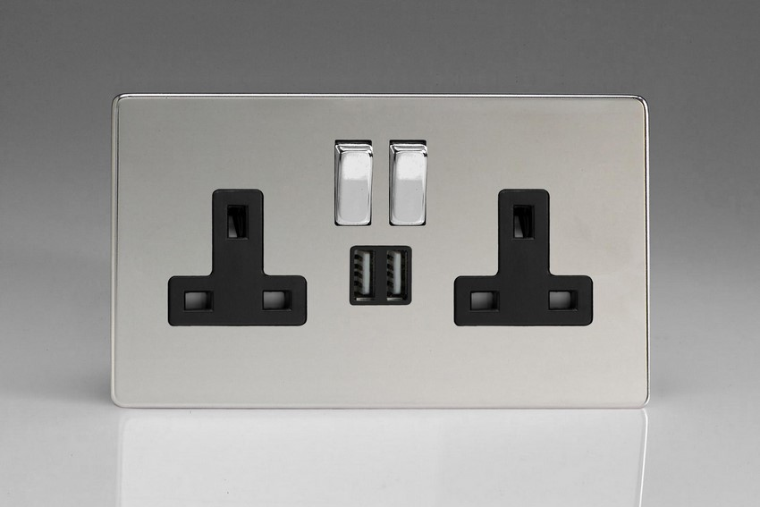XDC5U2SBS Varilight 2 Gang 13A Single Pole Switched Socket + 2 x 5V DC 2100mA USB Charging Ports, Black Insert & Polished Chrome Switches. Dimension Screwless Polished Chrome