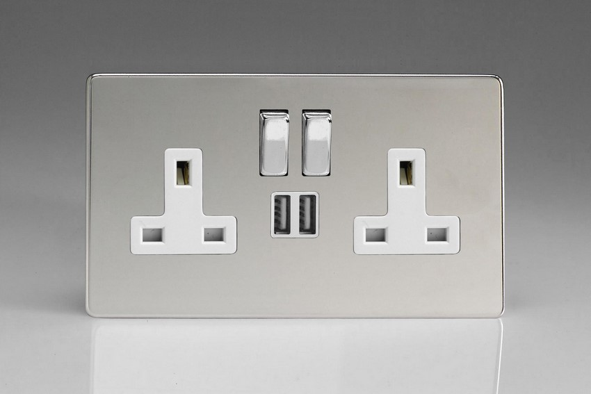 XDC5U2SWS Varilight 2 Gang 13A Single Pole Switched Socket + 2 x 5V DC 2100mA USB Charging Ports, White Insert & Polished Chrome Switches. Dimension Screwless Polished Chrome