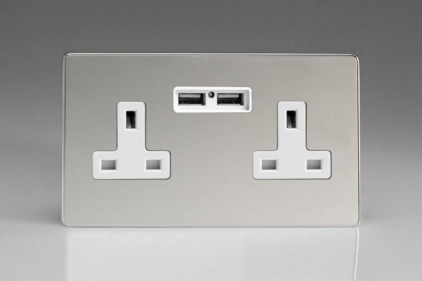 XDC5U2WS Varilight 2 Gang, 13 Amp Unswitched Socket with 2 Optimised USB Charging Ports, White Insert. Dimension Screwless Polished Chrome