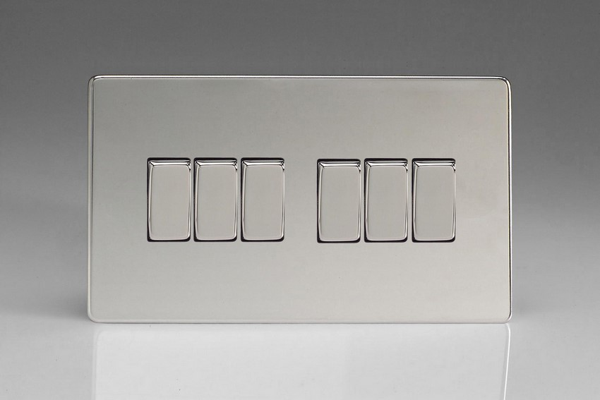XDC96S Varilight 6 Gang 1or 2 Way 10 Amp Switch, Dimension Screwless Polished Chrome (Double Plate)