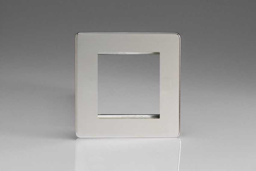 XDCG2S Varilight Single Size Data Grid Face Plate For 2 Data Modules, Dimension Screwless Polished Chrome