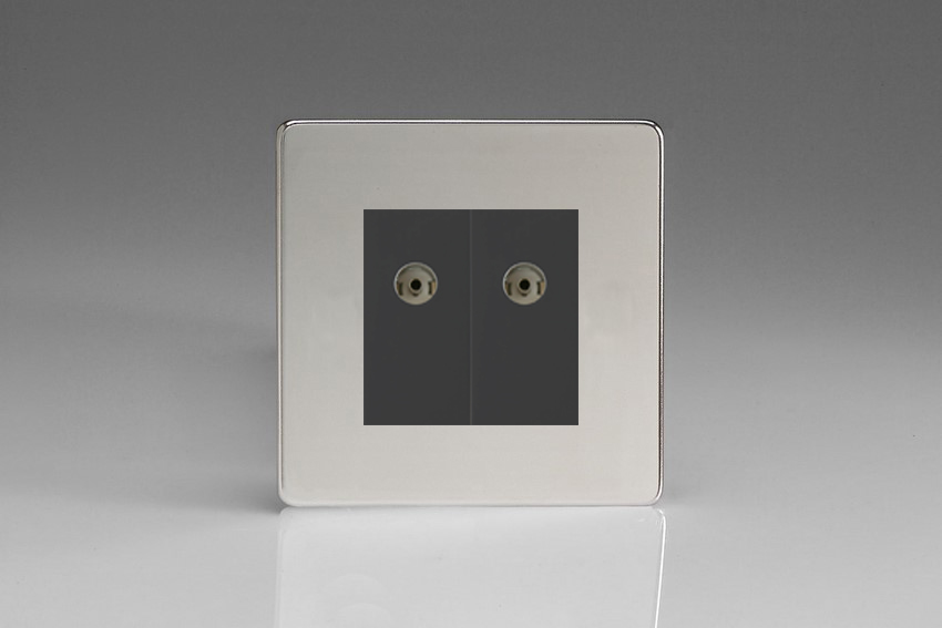 XDCG88BS Varilight 2 Gang (Double), Co-axial TV Socket, Dimension Screwless Polished Chrome