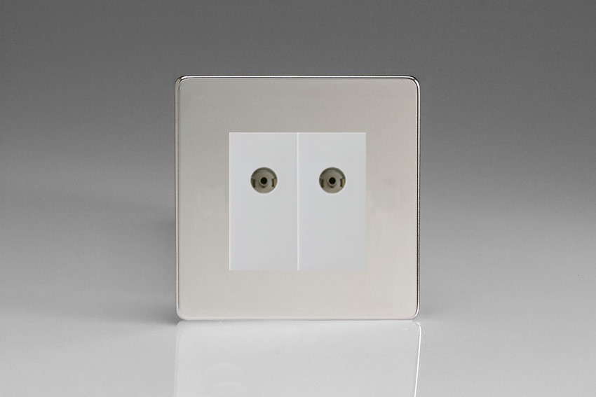 XDCG88WS Varilight 2 Gang (Double), Co-axial TV Socket, Dimension Screwless Polished Chrome