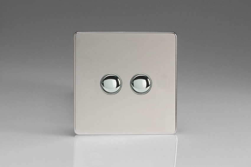 XDCP2S Varilight 2 Gang (Double) 1 or 2 way 6 Amp Push-on Push-off Switch (impulse), Dimension Screwless Polished Chrome