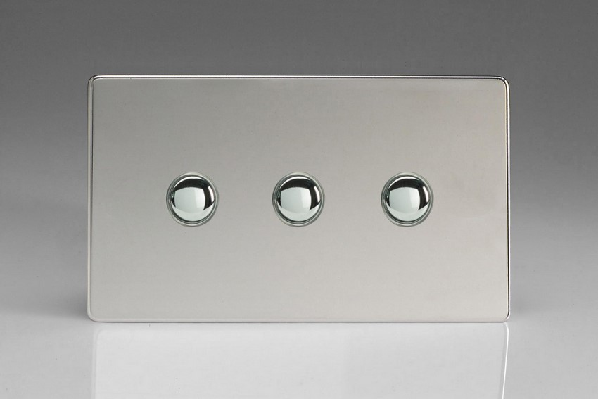 XDCP3S Varilight 3 Gang (Triple) 1 or 2 way 6 Amp Push-on Push-off Switch (impulse), Dimension Screwless Polished Chrome