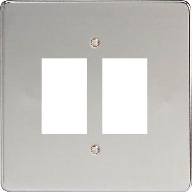 XDCPG2+ Varilight 2 Gang Polished Chrome (Dimension Range) Faceplate including 2 Gang Power Grid Frame