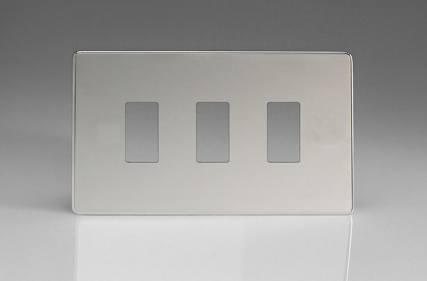 Varilight 3 Gang Power Grid Screwless Faceplate Including Screwless Power Grid Frames