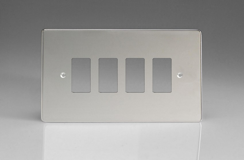 Varilight 4 Gang Power Grid Faceplate Including Power Grid Frame Dimension Polished Chrome