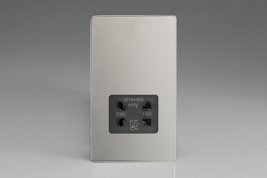 XDCSSBS Varilight Dual Voltage Shaver Socket, Dimension Screwless Polished Chrome