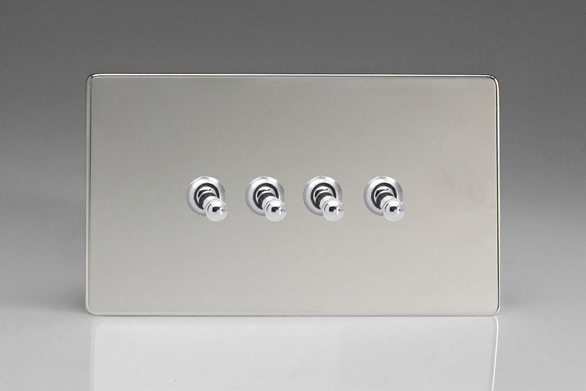 XDCT9S Varilight 4 Gang (Quad), 1or 2 Way 10 Amp Classic Toggle Switch, Dimension Screwless Polished Chrome (Double Plate)