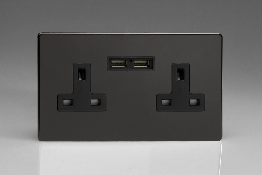 XDL5U2BS Varilight 2 Gang, 13 Amp Unswitched Socket with 2 Optimised USB Charging Ports, Black Insert. Dimension Screwless Premium Black