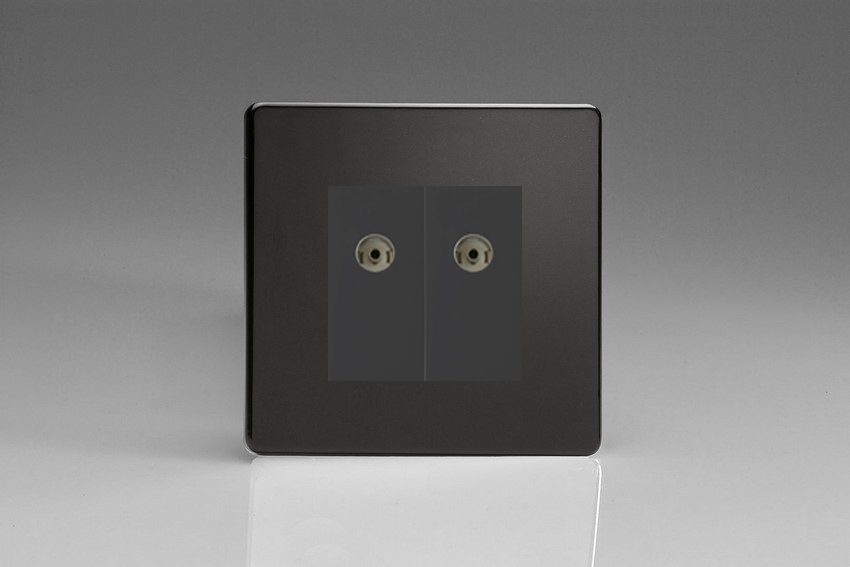 XDLG88BS Varilight 2 Gang (Double), Co-axial TV Socket, Dimension Screwless Premium Black