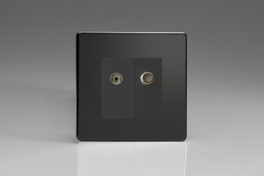 XDLG88SBS Varilight 2 Gang (Double), Co-axial TV and Satellite Socket, Dimension Screwless Premium Black