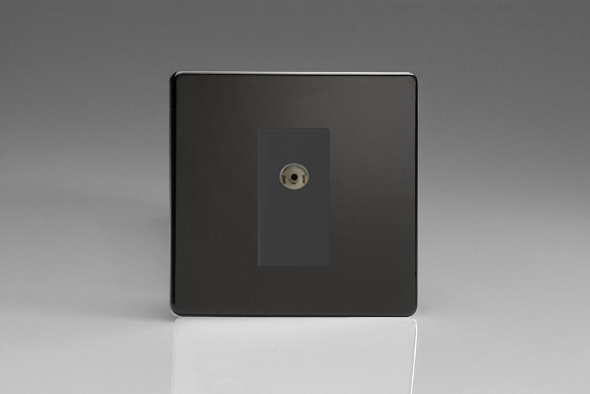 XDLG8ISOBS Varilight 2 Gang (Double), Isolated Co-axial TV Socket, Dimension Screwless Premium Black