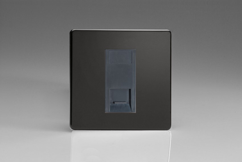 Varilight 1 Gang Black Telephone Slave Socket